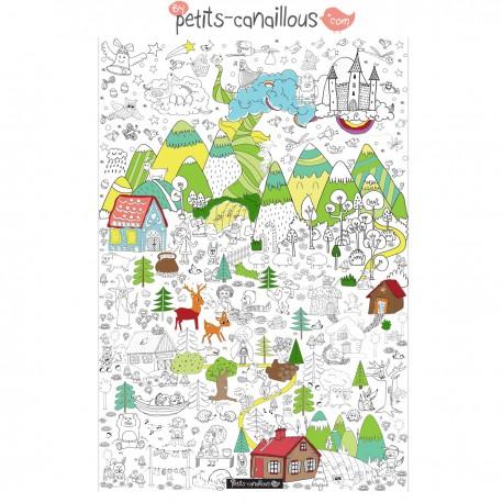 """Coloriage géant Petits Canailloux Forêt enchantée """"Collection addition"""""""