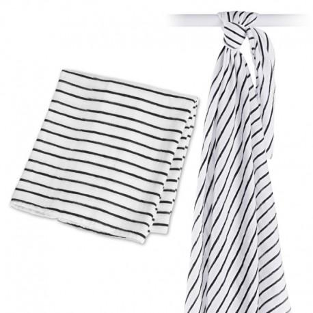 Lange en mousseline Bambou Lulujo Black Stripes