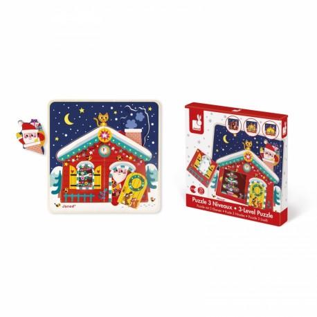 Puzzle 3 niveaux La nuit de Noël - Janod