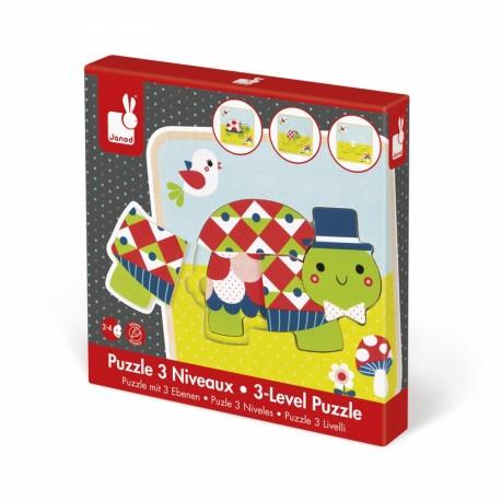 Puzzle en bois 3 niveaux - Tortues