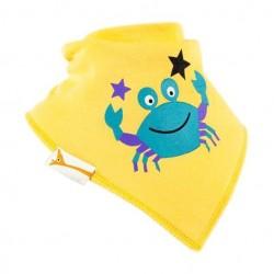Bavoir bandana Funky Giraffe Crabe jaune 100% coton