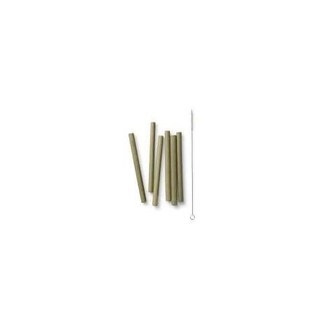 Lot de 6 pailles lavables et sa brosse de nettoyage Bambu